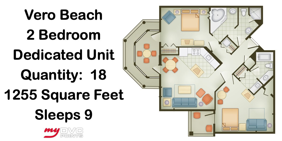 Disney's Vero Beach Resort 2 Bedroom Dedicated Floor Plan