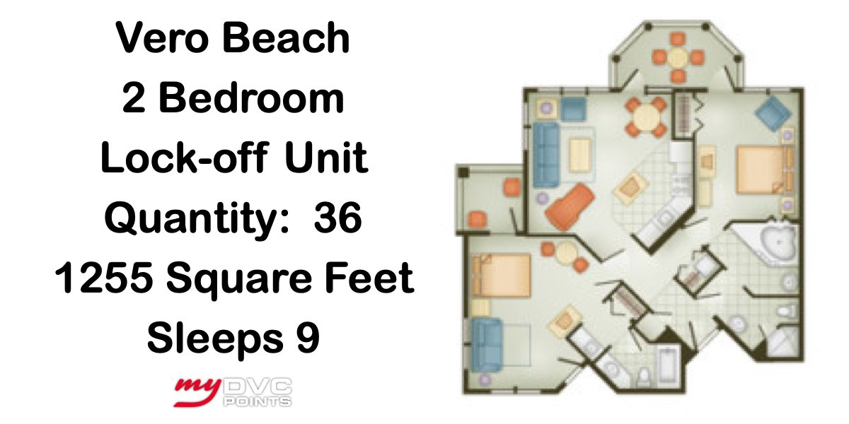 Disney's Vero Beach Resort 2 Bedroom Lock-Off Floor Plan