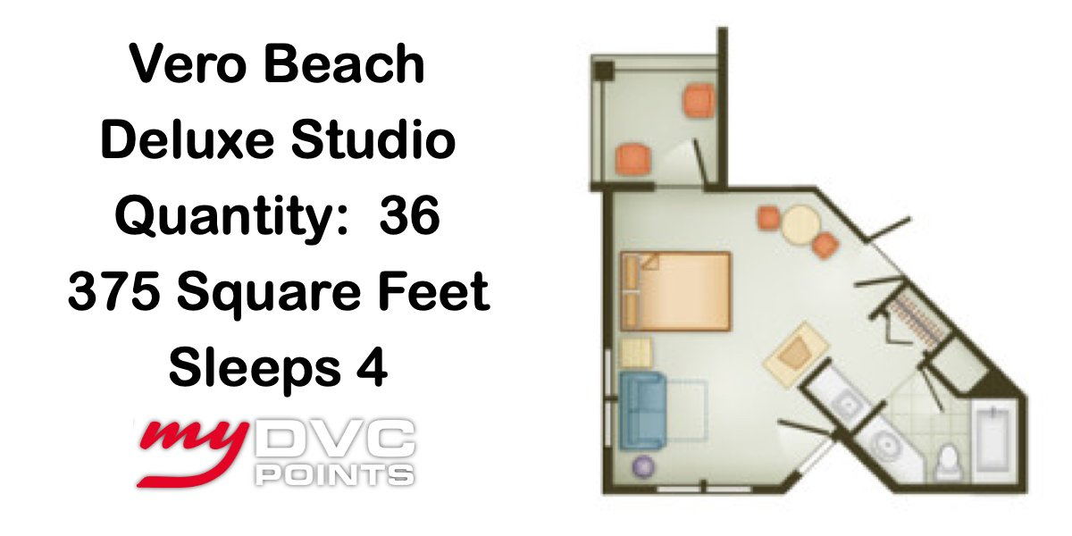 Disney's Vero Beach Resort Deluxe Studio Floor Plan